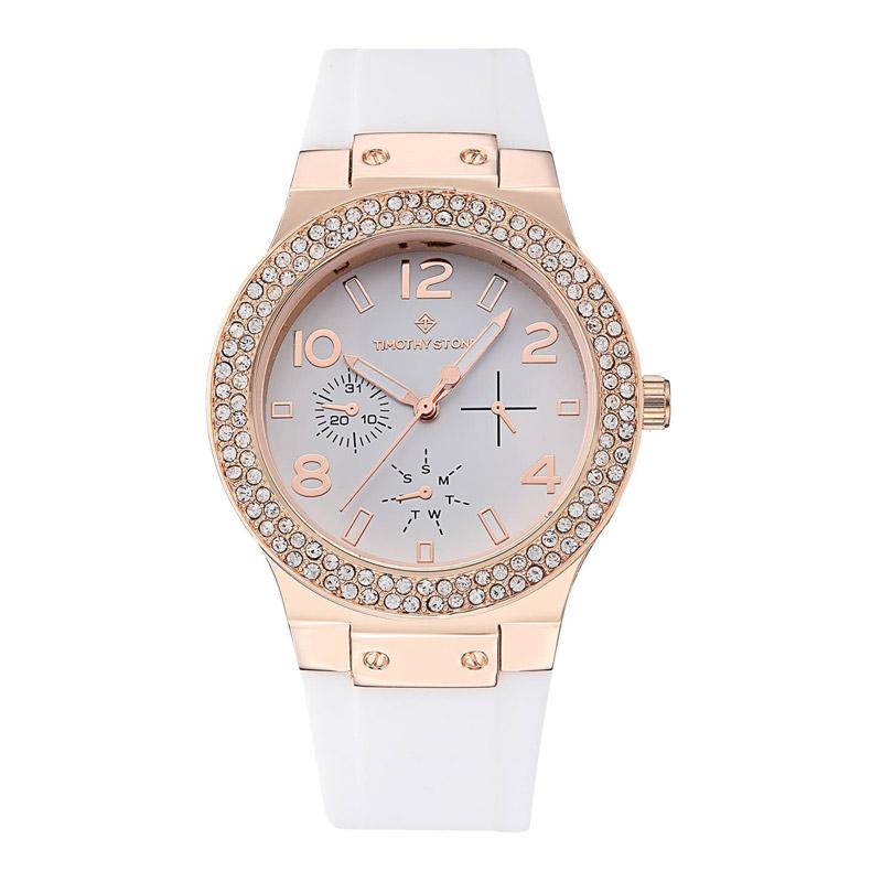 Γυναικείο Ρολόι Χρώματος Ροζ-Χρυσό με Άσπρο Λουράκι Σιλικόνης και Κρύσταλλα  Swarovski® Timothy Stone ... da98cbf6ae4