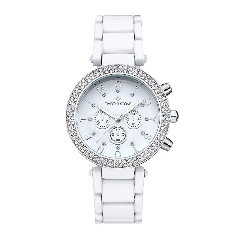 Γυναικείο Ρολόι Χρώματος Άσπρο με Μεταλλικό Μπρασελέ και Κρύσταλλα Swarovski®  Timothy Stone D-021 ... ea4b126648e