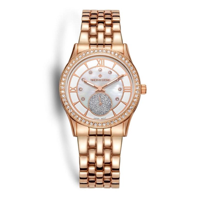 Γυναικείο Ρολόι Χρώματος Ροζ-Χρυσό με Μεταλλικό Μπρασελέ και Κρύσταλλα  Swarovski® Timothy Stone H ... 984cf863179