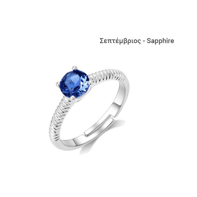 Δαχτυλίδι Philip Jones με Γενέθλια Πέτρα Σεπτέμβριος από Swarovski® fb069d7fcbd