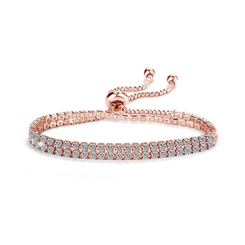 74f1b57c274 Βραχιόλι Philip Jones Χρώματος Ροζ - Χρυσό με Δύο Σειρές από Κρύσταλλα  Swarovski®