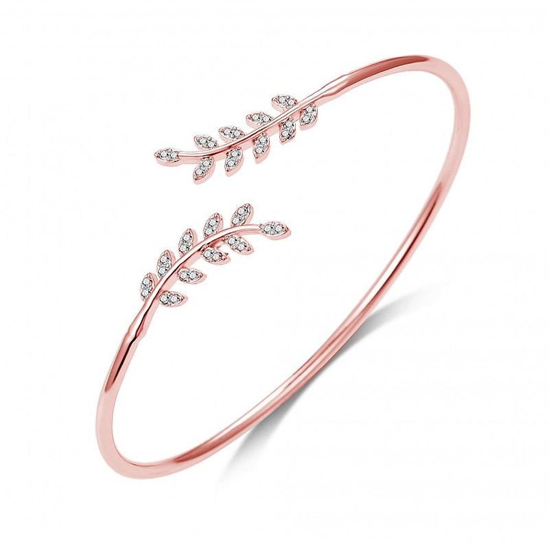 9366ac413c1 Βραχιόλι Philip Jones σε Σχήμα Φύλλου με Κρύσταλλα Swarovski® Χρώματος Ροζ  - Χρυσό