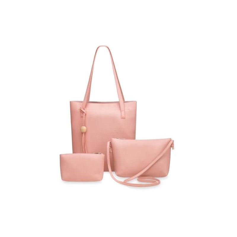 0fd30c5058 Σετ Γυναικείες Τσάντες με Φερμουάρ Χρώματος Ροζ 3 τμχ SPM 6016