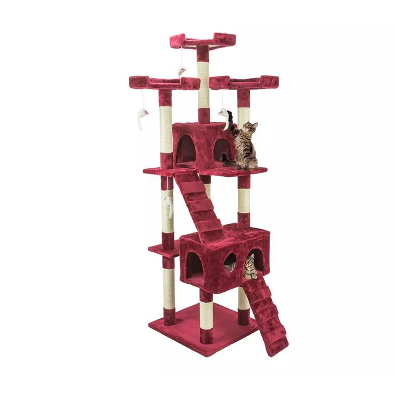 Δέντρο Γάτας - Ονυχοδρόμιο 75 x 62 x 170 cm Χρώματος Μπορντό Wintem PL-0830