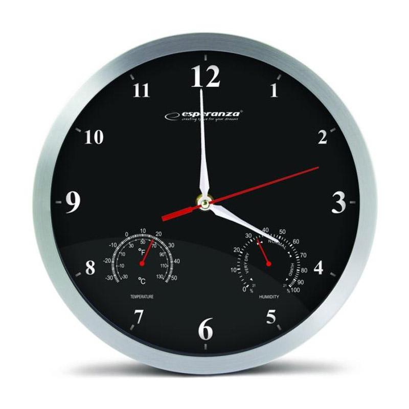 Ρολόι Τοίχου Esperanza Washington Χρώματος Μαύρο EHC008K
