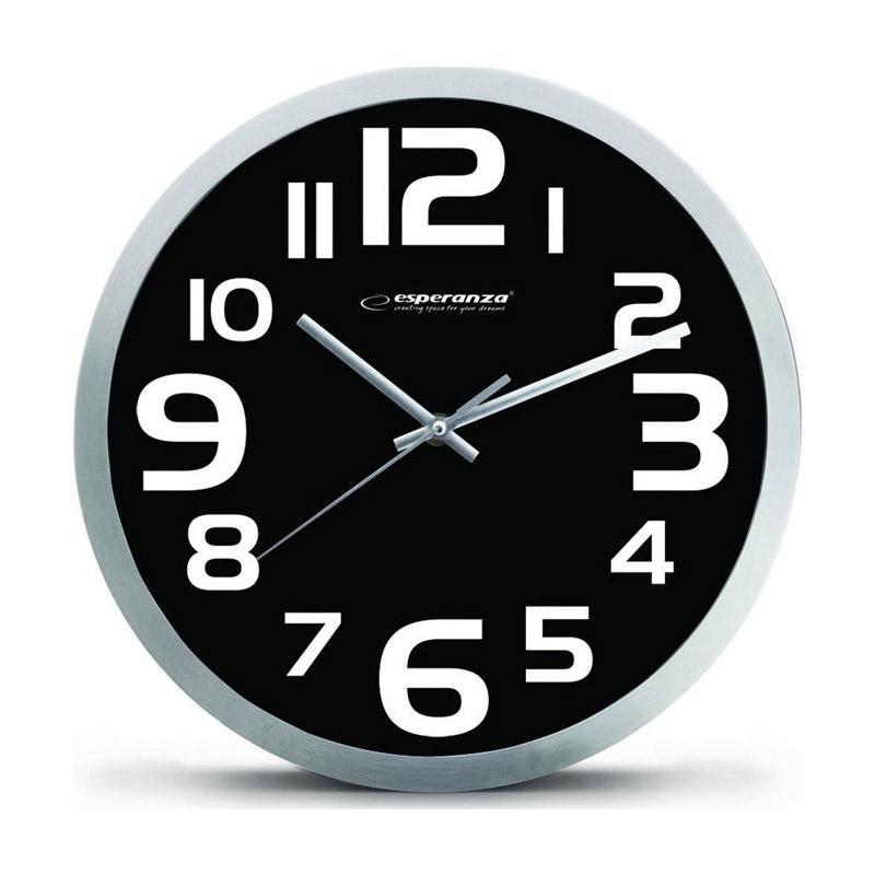 Ρολόι Τοίχου Esperanza Zurich Χρώματος Μαύρο EHC013K