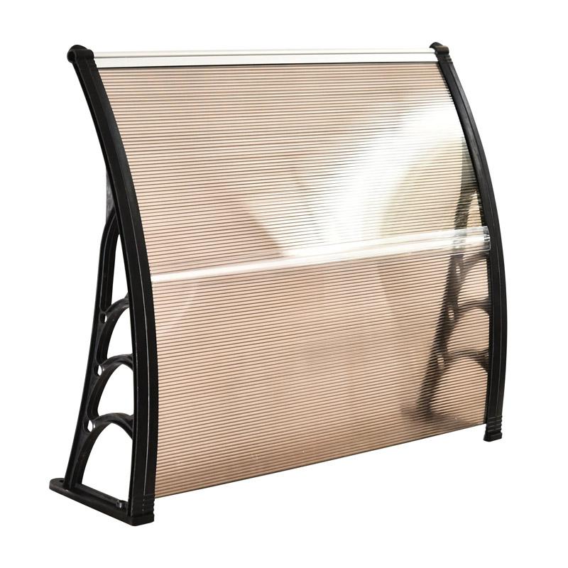 Πλαστικό Κιόσκι - Τέντα Πόρτας Εισόδου 100 x 80 x 23 cm Χρώματος Καφέ Outsunny B70-011V01BN