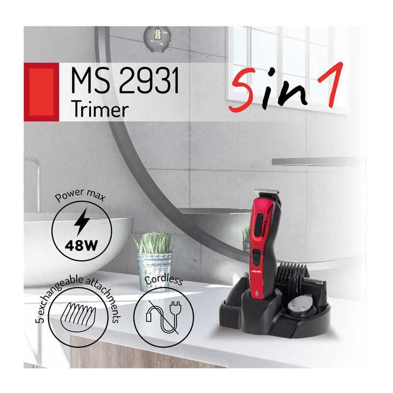 Σετ Επαναφορτιζόμενη Κουρευτική - Ξυριστική Μηχανή και Τρίμμερ 5 σε 1 Mesko MS-2931