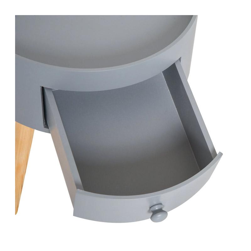 Βοηθητικό Ξύλινο Τραπεζάκι με 1 Συρτάρι 38 x 45 cm Χρώματος Γκρι HOMCOM 833-363GY
