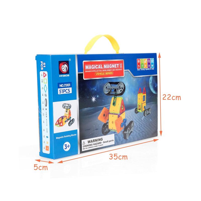 Παιδικό Μαγνητικό Σετ Κατασκευής Οχημάτων 51 τμχ Costway TY580397