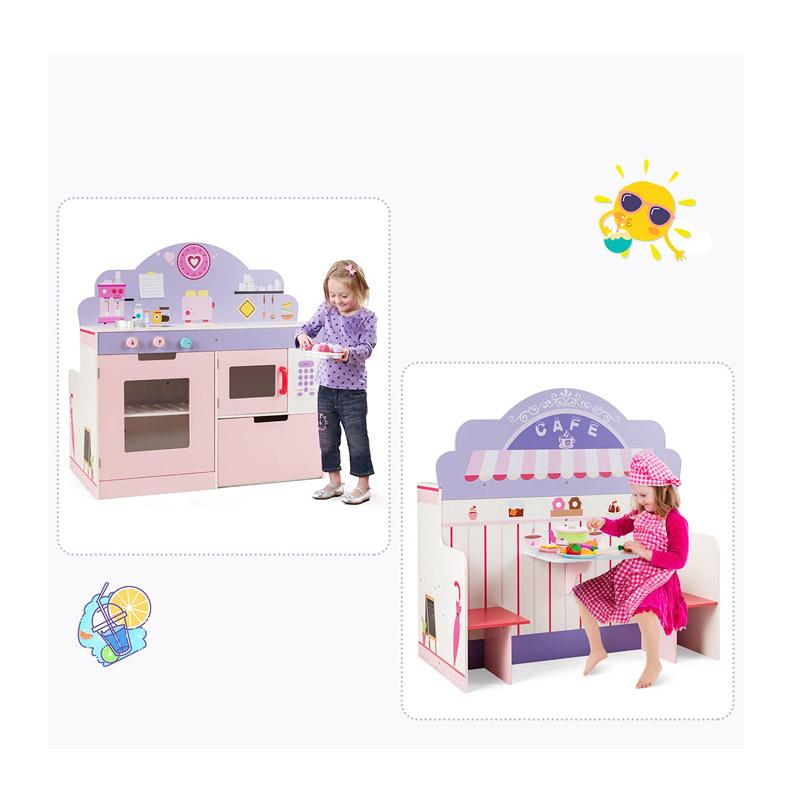 Σετ Παιδική Κουζίνα και Εστιατόριο 2 σε 1 Costway HW64637