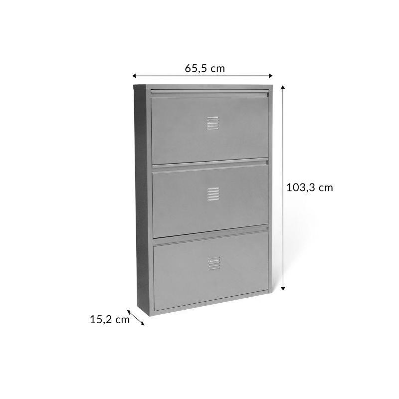 Μεταλλικό Τρίθυρο Ντουλάπι Αποθήκευσης Παπουτσιών 65.5 x 15.2 x 103.3 cm STORVIK Χρώματος Γκρι Idomya 30087331