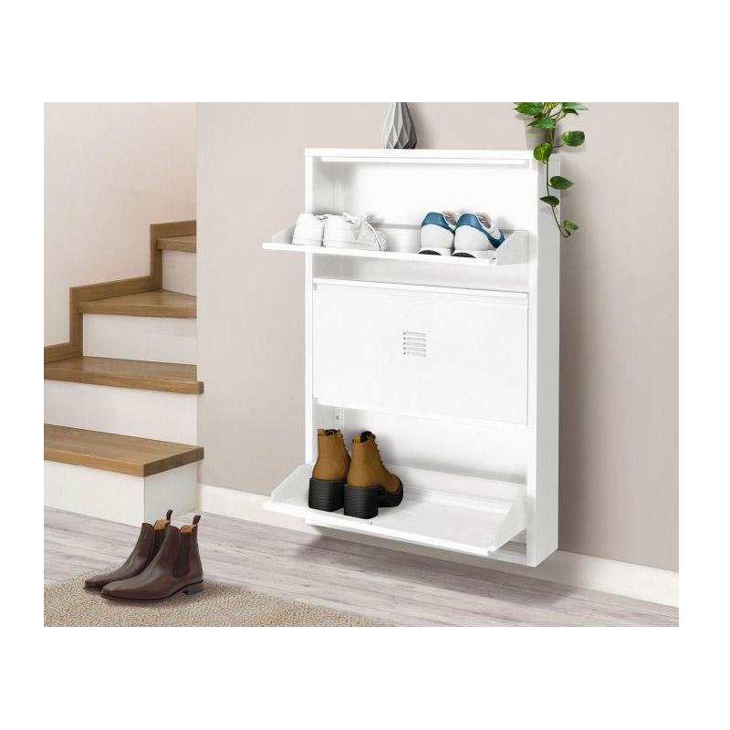 Μεταλλικό Τρίθυρο Ντουλάπι Αποθήκευσης Παπουτσιών 65.5 x 15.2 x 103.3 cm STORVIK Χρώματος Λευκό Idomya 30087330