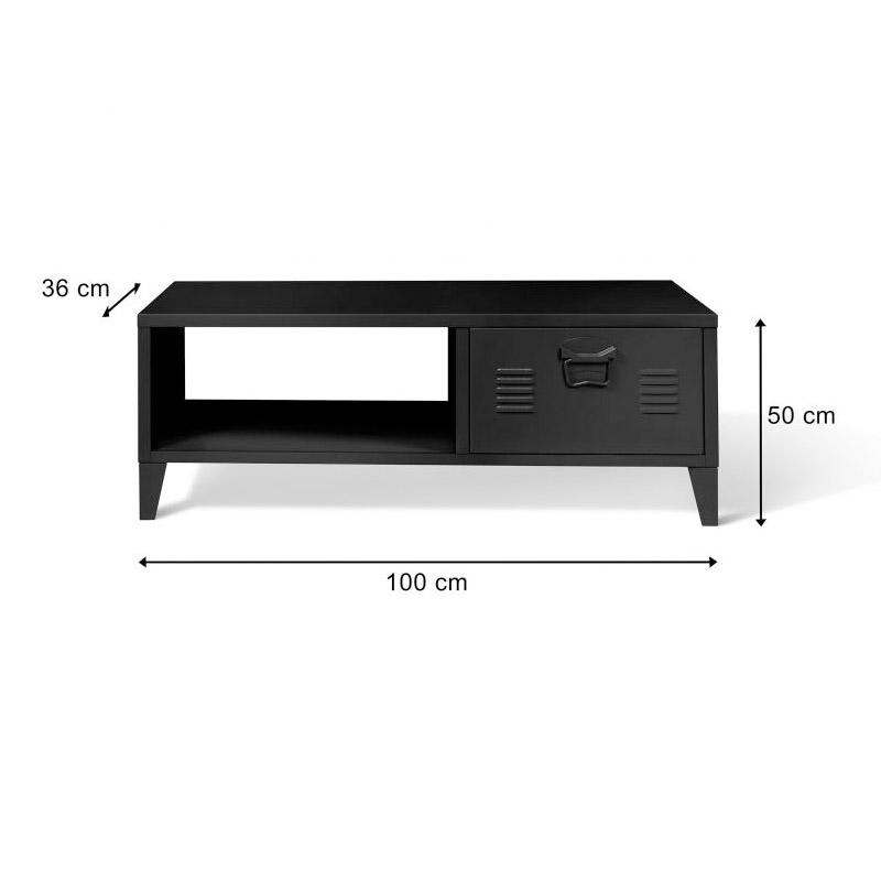 Μεταλλικό Τραπέζι Σαλονιού 100 x 50 x 36 cm Χρώματος Μαύρο Storvik Idomya 30087323