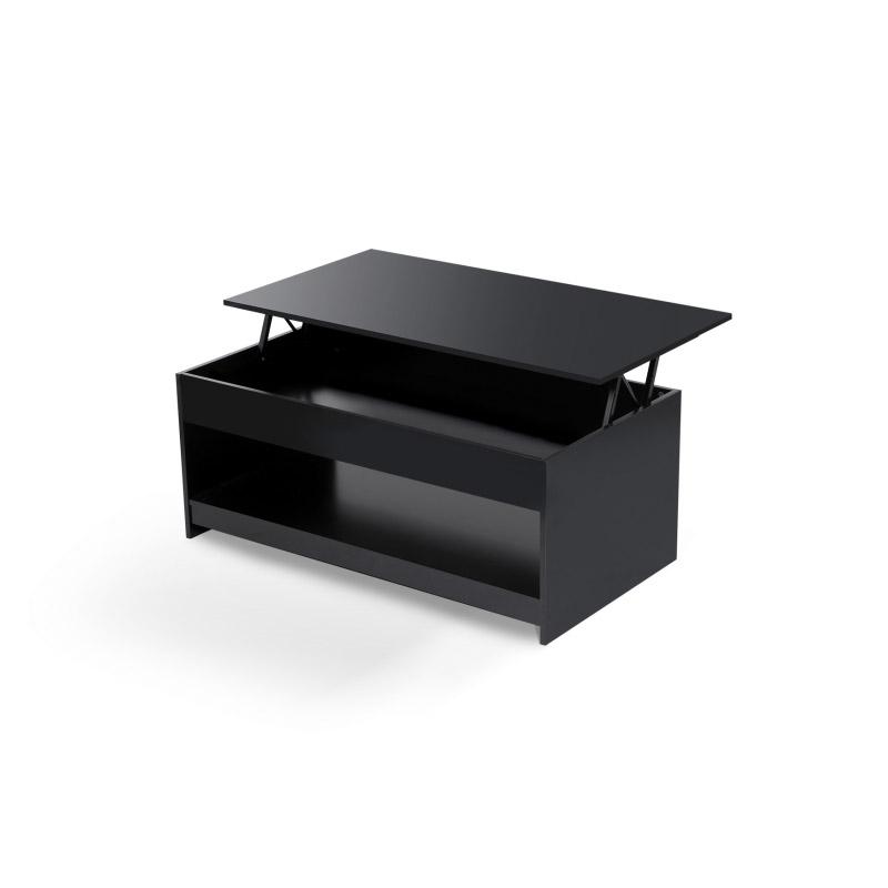 Ξύλινο Τραπέζι Σαλονιού 110 x 60.5 x 45 cm Χρώματος Μαύρο Idomya 30080036
