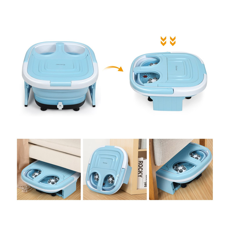 Αναδιπλούμενη Ηλεκτρική Συσκευή Υδρομασάζ Ποδιών με Τηλεχειριστήριο 500 W Χρώματος Μπλε Costway EP24782DE-BL