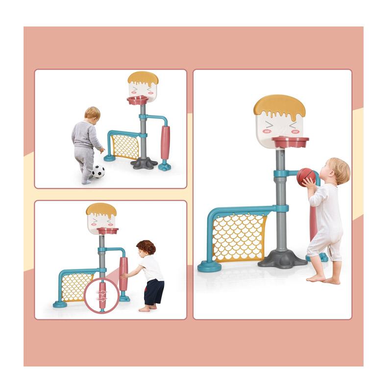 Παιδική Μπασκέτα με Τέρμα Ποδοσφαίρου και Περιστρεφόμενο Κύλινδρο 106 x 37 x 110-156 cm 3 σε 1 Costway TY327945