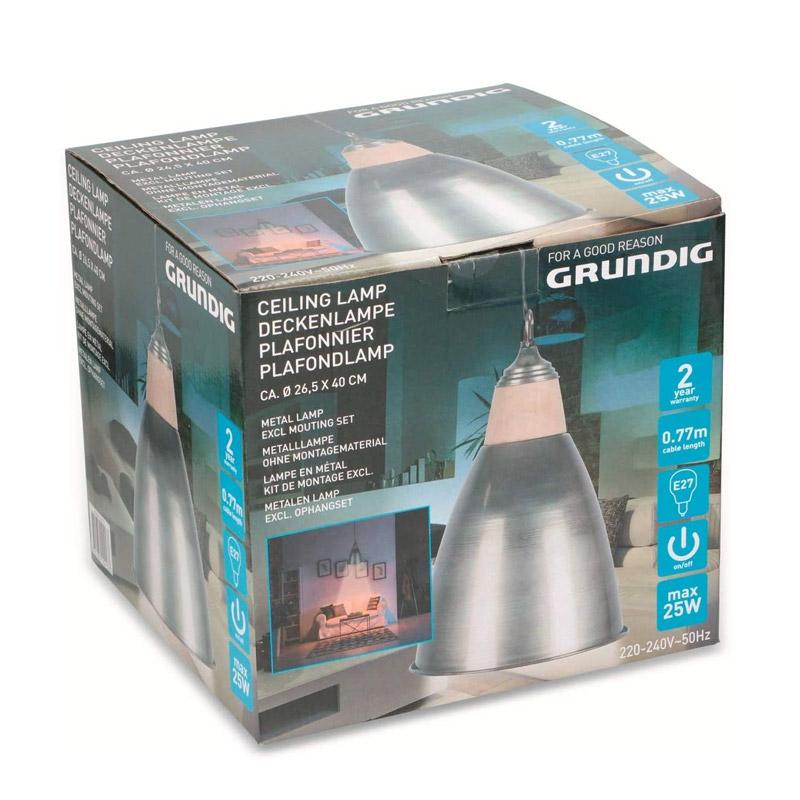 Κρεμαστό Μονόφωτο Φωτιστικό Οροφής από Ξύλο και Μέταλλο E27 25 W Grundig 10413