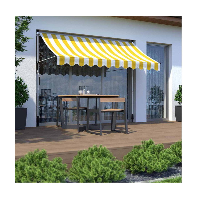 Χειροκίνητη Πτυσσόμενη Τέντα με Μανιβέλα 200 x 120 cm Χρώματος Κίτρινο Hoppline HOP1001018-1