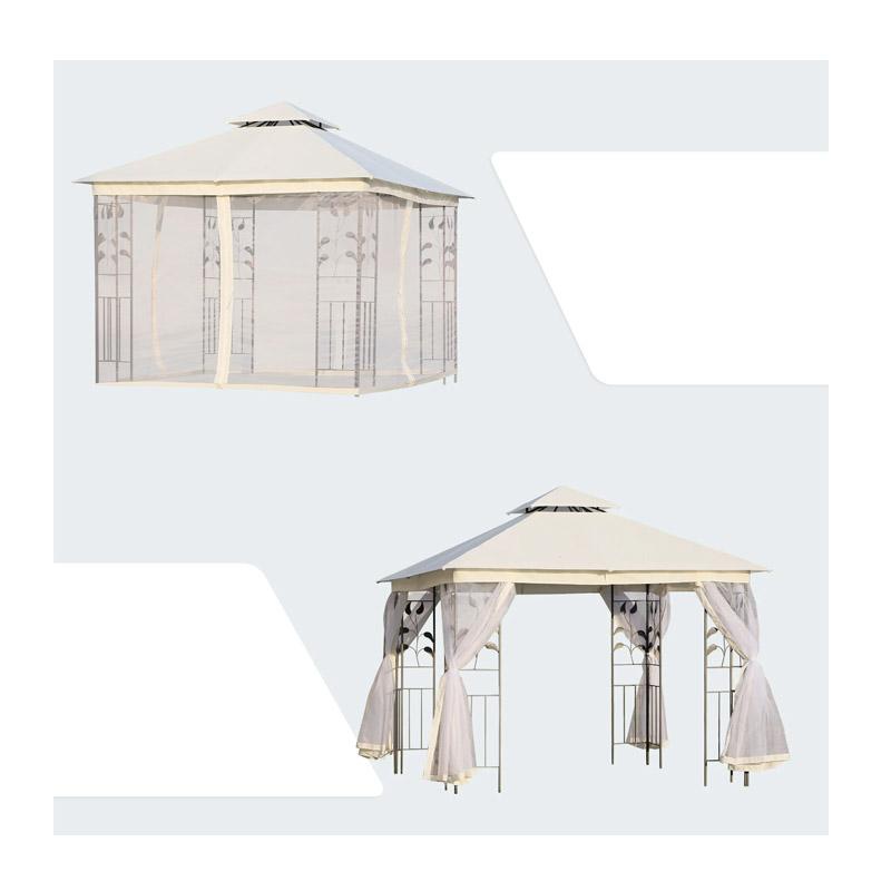 Κιόσκι Κήπου με Μεταλλικό Σκελετό και Κουνουπιέρες 300 x 300 x 265 cm Outsunny 84C-100