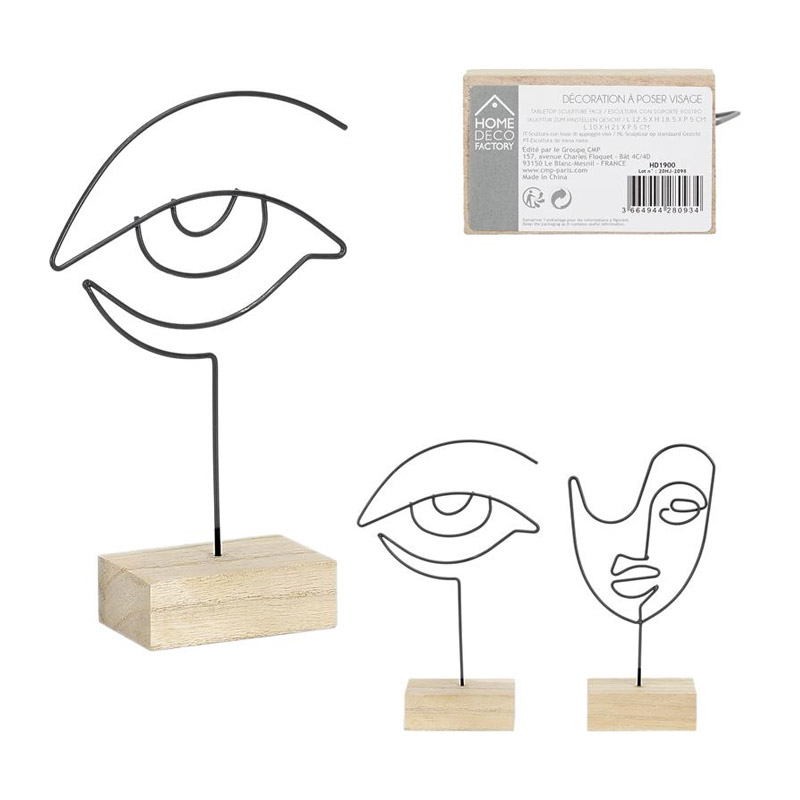 Επιτραπέζιο Διακοσμητικό Μεταλλικό Πρόσωπο με Ξύλινη Βάση 8 x 5 x 21 cm Home Deco Factory HD1900