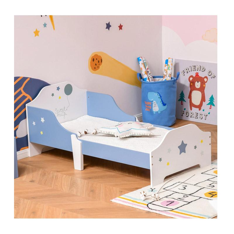 Ξύλινο Χαμηλό Μονό Παιδικό Κρεβάτι 143 x 74 x 59 cm για Στρώμα 140 x 70 x 5-10 cm HOMCOM 311-021