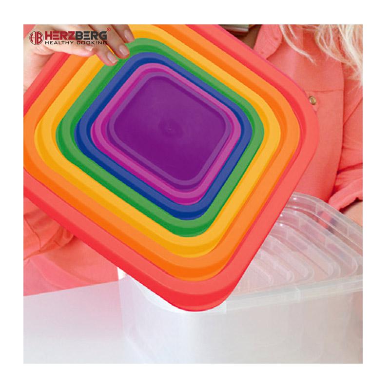 Σετ Πλαστικά Δοχεία Φαγητού με Χρωματιστά Καπάκια 7 τμχ Herzberg HG-SFS7N1