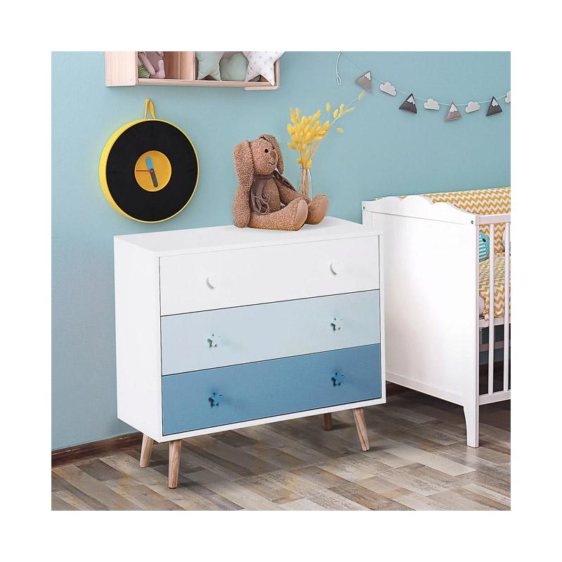 Ξύλινη Παιδική Συρταριέρα με 3 Συρτάρια 90 x 42 x 80 cm Χρώματος Μπλε HOMCOM 311-007BU