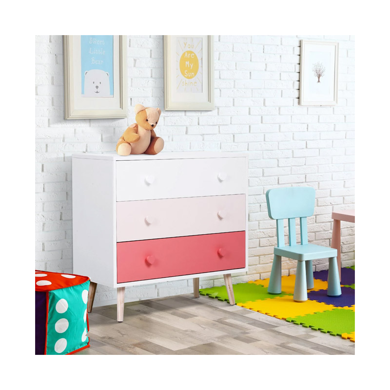 Ξύλινη Παιδική Συρταριέρα με 3 Συρτάρια 90 x 42 x 80 cm Χρώματος Ροζ HOMCOM 311-007PK