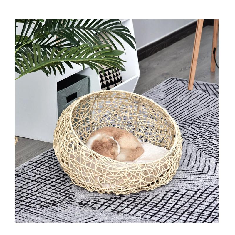Πλεκτό Κρεβάτι Γάτας 56 x 35 cm Χρώματος Μπεζ Pawhut D30-247BG