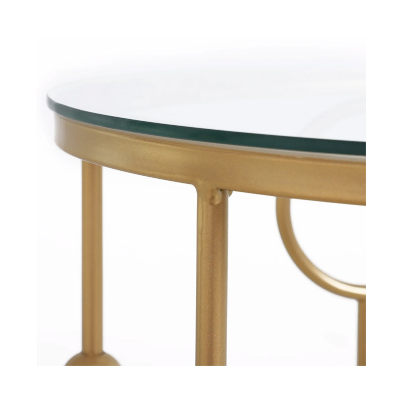 Σετ Βοηθητικά Μεταλλικά Τραπέζια με Γυάλινη Επιφάνεια 41 x 57 cm HOMCOM 833-674