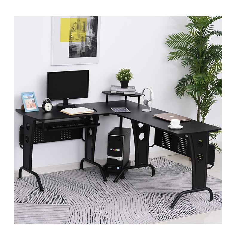 Μεταλλικό Γωνιακό Γραφείο με Θέση για Υπολογιστή 140 x 170 x 86.5 cm HOMCOM 920-058V01BK