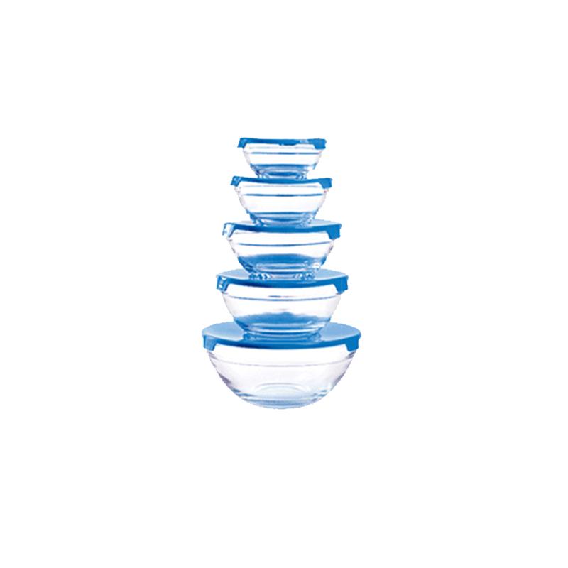 Γυάλινα Μπολ Herzberg 5 τμχ με Καπάκι Χρώματος Μπλε HG 5007