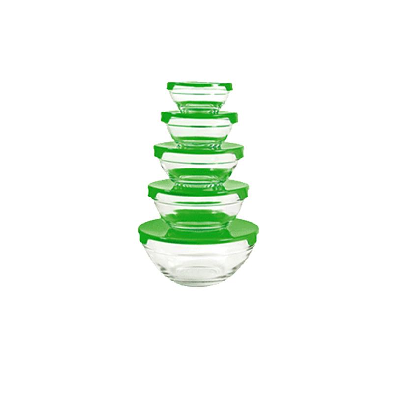 Γυάλινα Μπολ Herzberg 5 τμχ με Καπάκι Χρώματος Πράσινο HG 5007