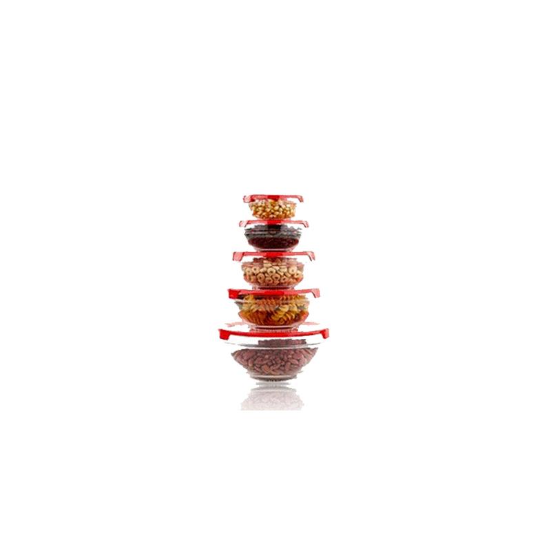 Γυάλινα Μπώλ Herzberg 5 τμχ με Καπάκι χρώματος κόκκινο HG 5007