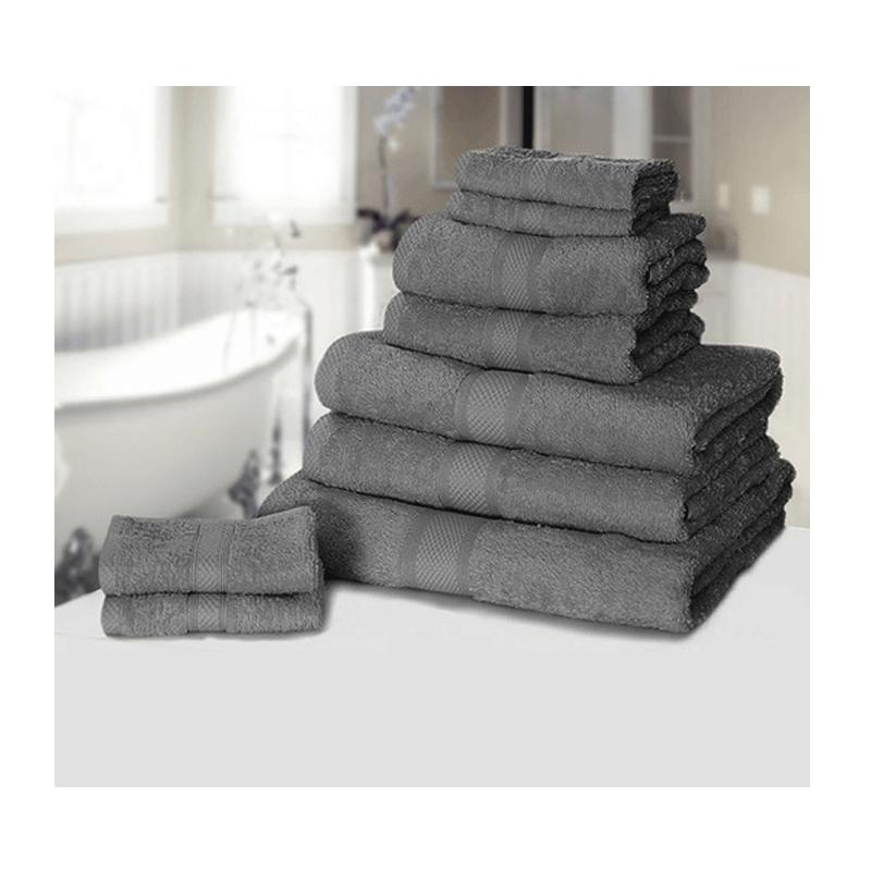 Σετ με 9 πετσέτες General από 100% premium αιγυπτιακό βαμβάκι χρώματος γκρι 9TOWEL