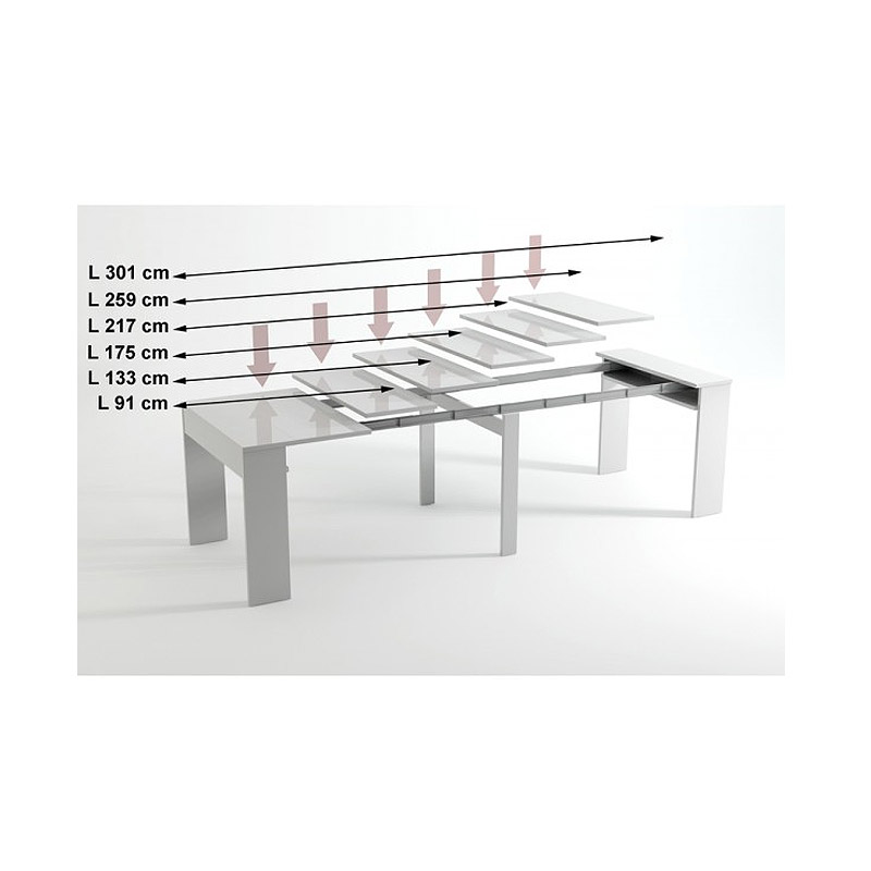 Κονσόλα-Τραπέζι με Μηχανισμό Προέκτασης έως 3 Μέτρα και 6 Διαφορετικές Θέσεις TBL3 White