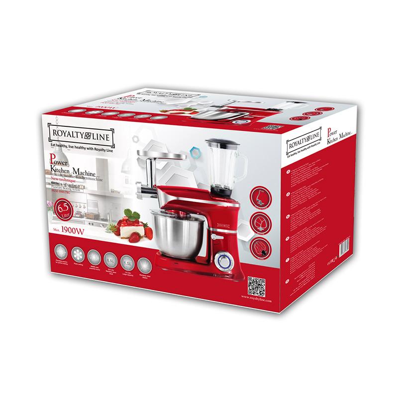 Κουζινομηχανή 3 σε 1 Royalty Line 1900 W Χρώματος Κόκκινο RL-PKM1900.7BG