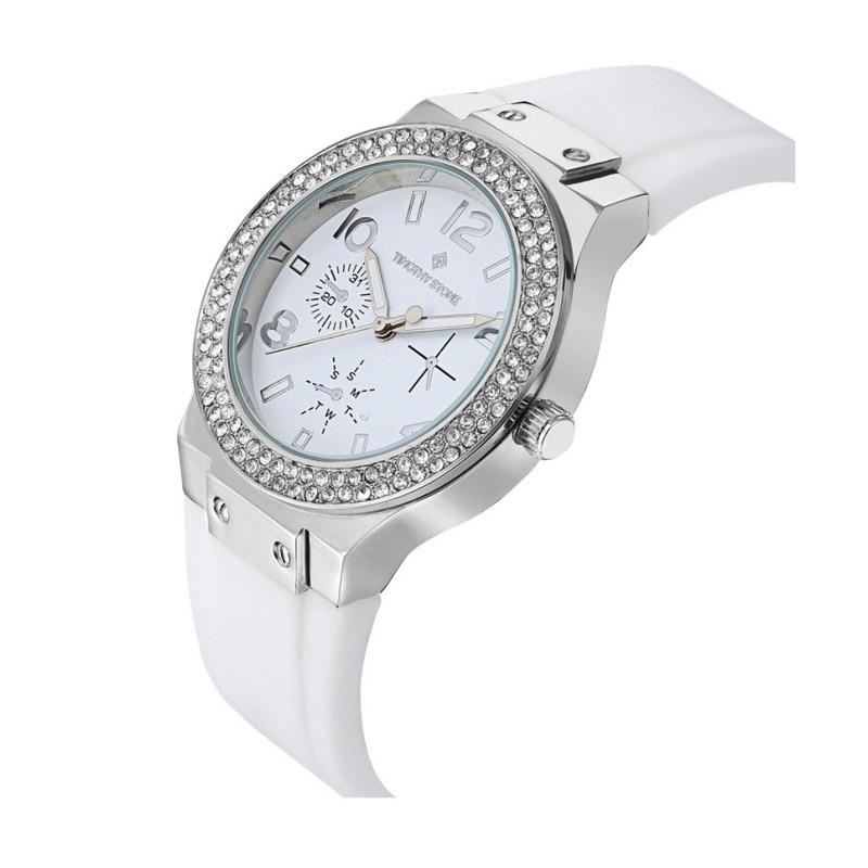Γυναικείο Ρολόι Χρώματος Γκρι με Άσπρο Λουράκι Σιλικόνης και Κρύσταλλα Swarovski® Timothy Stone F-032-SLWH