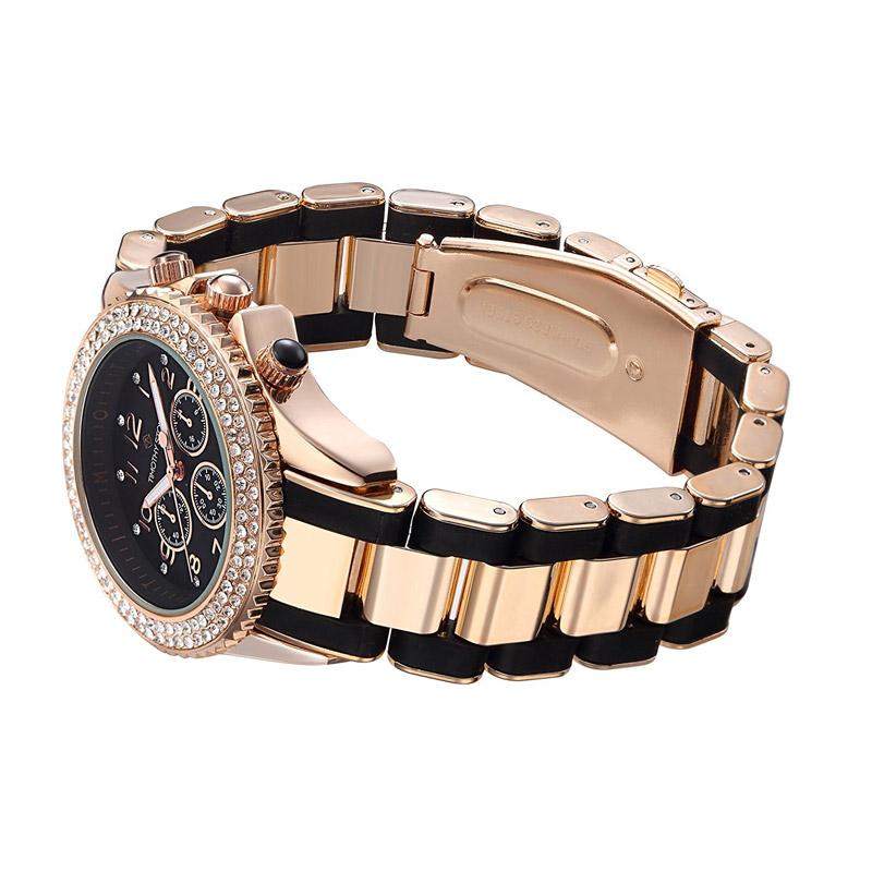 ... Γυναικείο Ρολόι Χρώματος Ροζ-Χρυσό και Μαύρο με Μεταλλικό Δίχρωμο  Μπρασελέ και Κρύσταλλα Swarovski® ... 52f352a8031