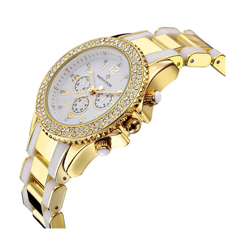 ... Γυναικείο Ρολόι Χρώματος Χρυσό-Άσπρο με Μεταλλικό Δίχρωμο Μπρασελέ και Κρύσταλλα  Swarovski® Timothy Stone ... 00626ff7707