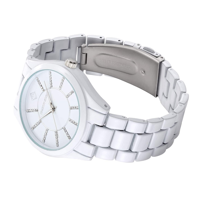 Γυναικείο Ρολόι Χρώματος Άσπρο με Μεταλλικό Μπρασελέ και Κρύσταλλα Swarovski® Timothy Stone C-031-ALWH