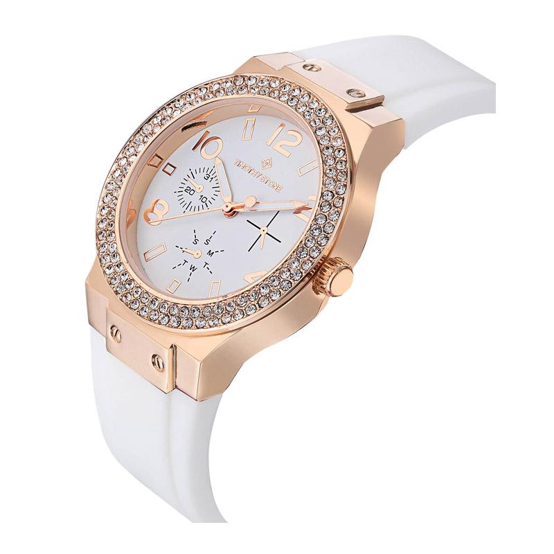 Γυναικείο Ρολόι Χρώματος Ροζ-Χρυσό με Άσπρο Λουράκι Σιλικόνης και Κρύσταλλα Swarovski® Timothy Stone F-012-RGWH