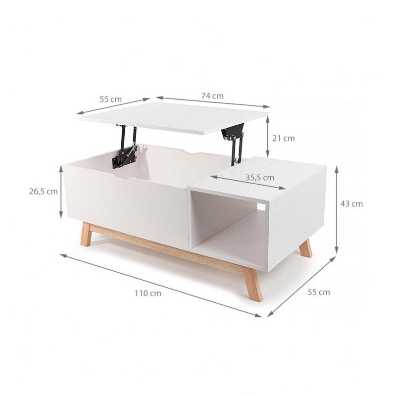Τραπέζι Σαλονιού Gossa με Ρυθμιζόμενο Ύψος Χρώματος Λευκό Homekraft GOSSAPLUS