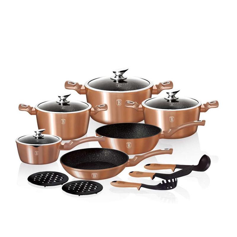 Σετ Μαγειρικών Σκευών Berlinger Haus 15 τμχ Rose - Gold Metallic Edition BH-1224N
