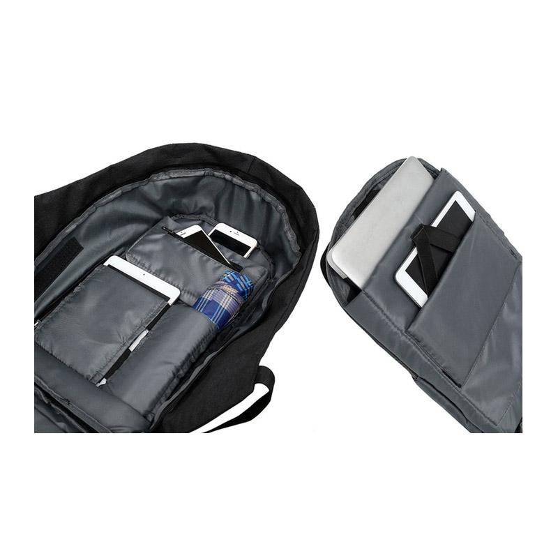 Αντικλεπτικό Σακίδιο Πλάτης με Θύρα Φόρτισης USB Χρώματος Μαύρο Aquarius R161246