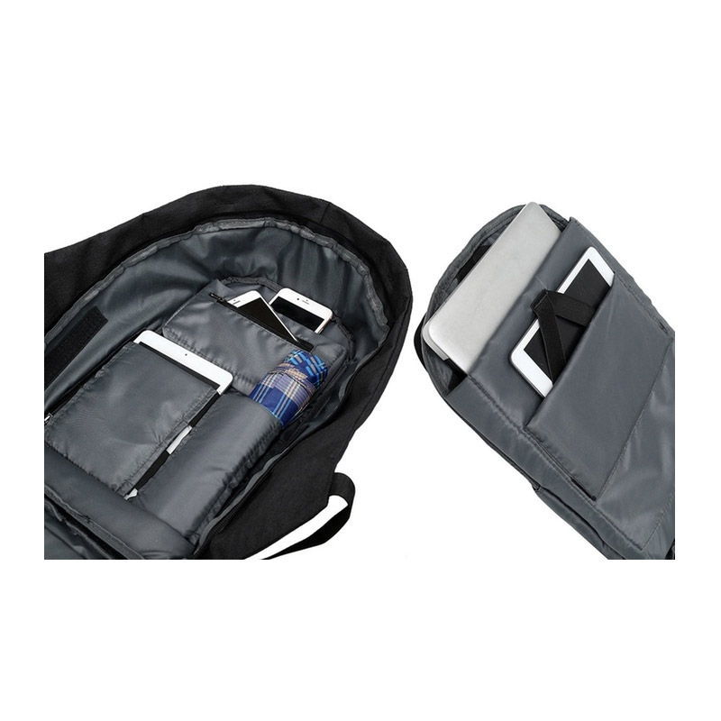 Αντικλεπτικό Σακίδιο Πλάτης με Θύρα Φόρτισης USB Χρώματος Γκρι Aquarius R161247