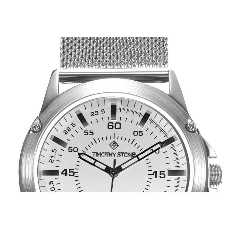Ανδρικό Ρολόι Χρώματος Ασημί με Μεταλλικό Μπρασελέ Timothy Stone N-012-ALMSL