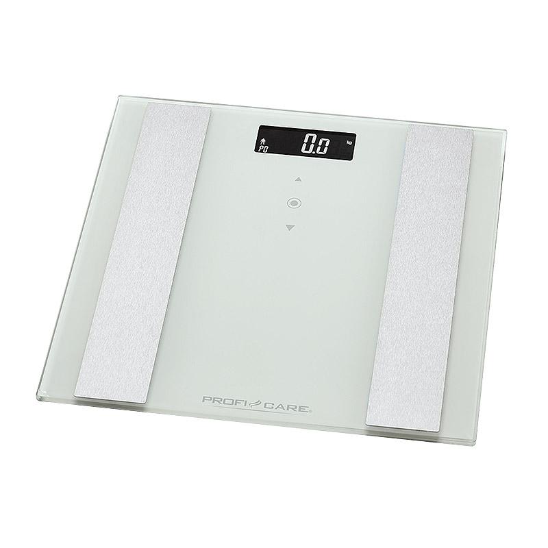 Γυάλινη Ηλεκτρονική Ζυγαριά Μπάνιου Λιπομετρητής 8 σε 1 ProfiCare Χρώματος Λευκό PC-PW3007