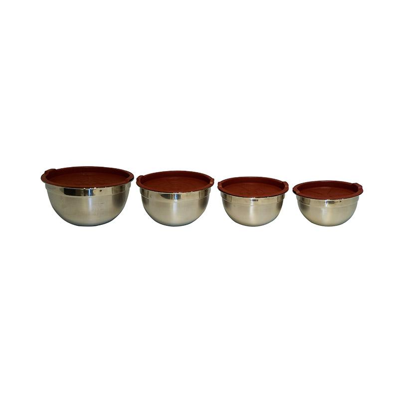 Σετ 4 Μπολ XSQUO από Ανοξείδωτο Ατσάλι με Κόκκινο Καπάκι από Σιλικόνη 8487497376337